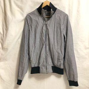 Zara Blue and White Vertical Striped Bomber Jacket